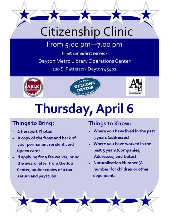 Citizenship clinic flyer April 6 2017